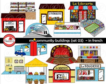 My Community Buildings (Set 03) in FRENCH Clipart: (300 dpi transparent png) School Teacher Clip Art Creative Writing Subway Theater