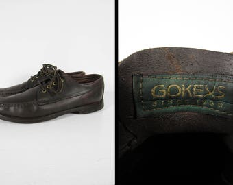 Vintage Gokey's Oxfords Moc Toe Shoes Boat Leather Moccasins Lace Up Shoes - Size 9