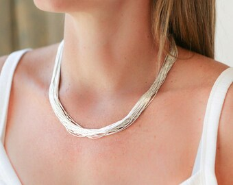 Delicate Necklace Multi Strand Necklace Layered Necklace Silver Necklace Handmade Jewelry Sterling Silver Silver Jewellery Silver chain