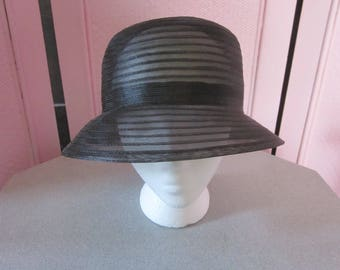 """1960s Black Horsehair Cloche for """"Lord & Taylor"""""""