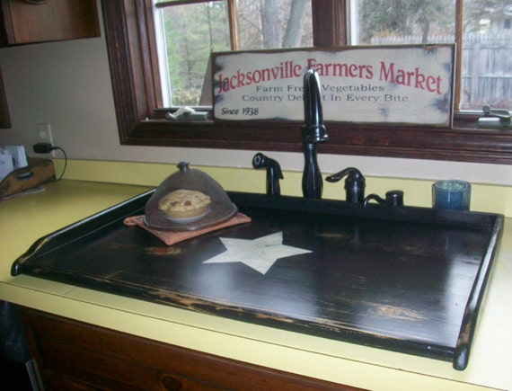 Primitive kitchen sink cover or stove top board black with primitive kitchen sink cover or stove top board black with cream large star lg or stove top board cover workwithnaturefo