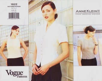 90s Anne Klein II Womens Blouses Vogue Sewing Pattern 1822 Size 6 8 10 Bust 30 1/2 to 32 1/2 UnCut American Designer Suit Blouse Pattern