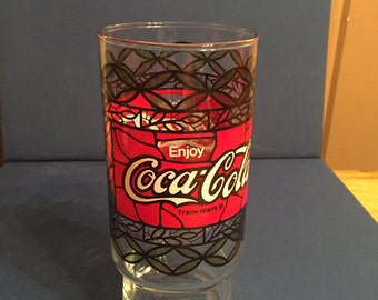 Coke Stained Glass Style Glass/1970's