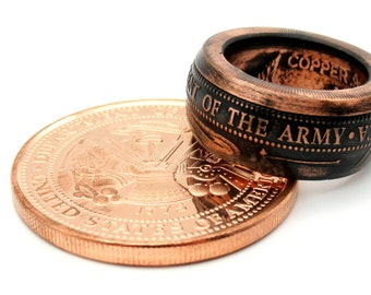 United States Army military challenge coin ring from pure.999 copper size 7-16