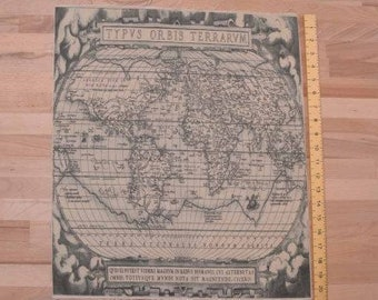 printed linen panel with vintage atlas design