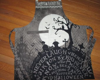 Halloween apron Come Sit a Spell design by Stephanie Marrott Happy Haunting haunted house cemetery