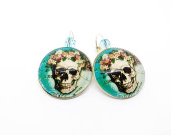 Skull earrings Calaveras - Mexican - sugar skull - dia los muertos - day of the dead