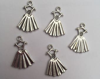 Set of 5 Tibetan silver dress/gown charms