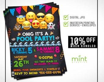 Emoji Birthday Invite - Emoji Birthday Invitation - Emoji Printable Invitation - Emoji Invitation - Emoji Party Invitation  Emoji Pool Party