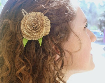 Book Page Rose Hair Clip- Hair accessory, literary gift