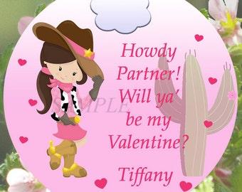 Cowgirl Western Valentine's Day Tag, Cowgirl Valentine, Girls Valentine Tag