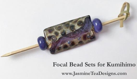 Deep Purple Spacer Beads with Artisan Focal Bead, Venetian Glass Focal Bead, American Glass Spacer Beads, Large Hole Focal Bead