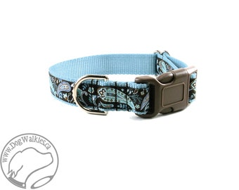 "Iced Chocolate Paisley Dog Collar // 1"" (25mm) Wide // Martingale or Quick Release Buckle // Brown // Your Choice of style and size"