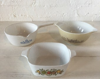 3 Vintage Pyrex and Corning Ware Cookware Bowls - Lot of 3 pieces - Forrest Fancies, Mushrooms, Vegetable art, Flower Pattern