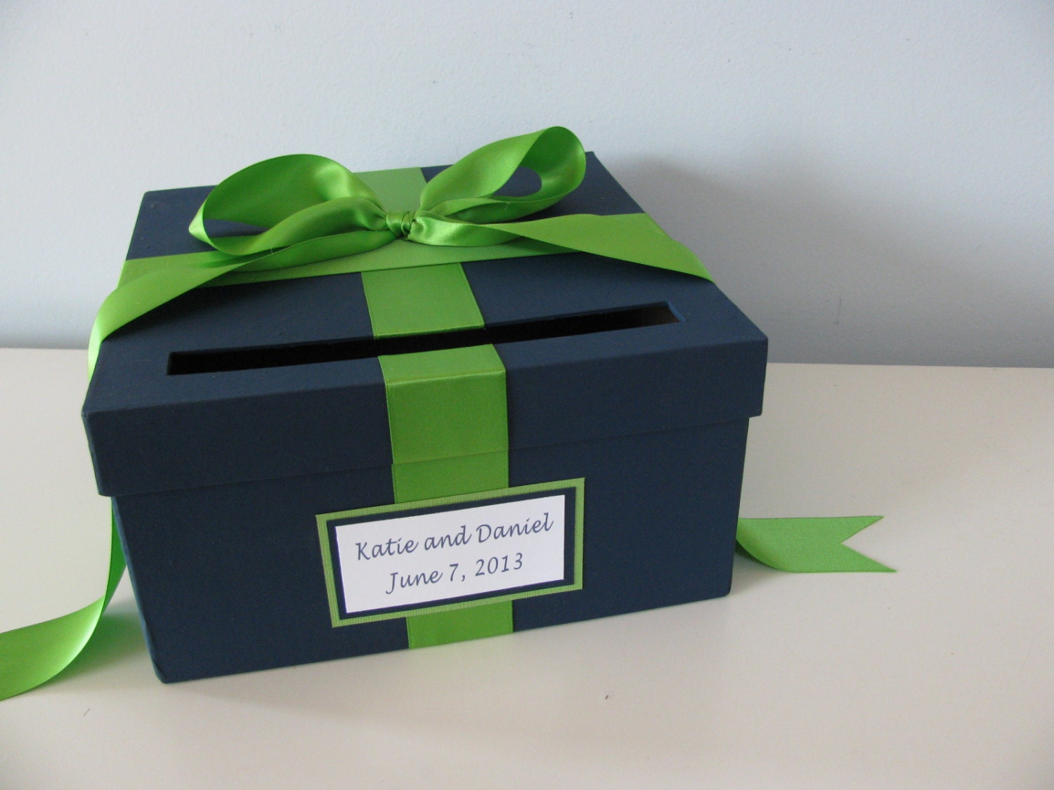 navy blue and kelly green wedding invitations%0A Wedding Card Box Bridal Shower Card Box Navy And Kelly Green