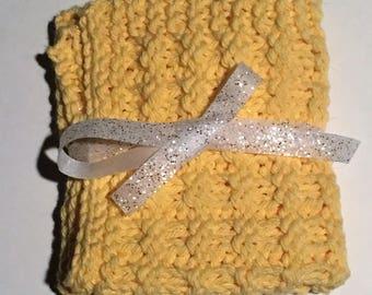 Hand Knit Waffle Dish Cloth set of 2