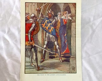 Walter Crane Art 1911 Knights of the Round Table The Fight in the Queen's Ante-Chamber Color print