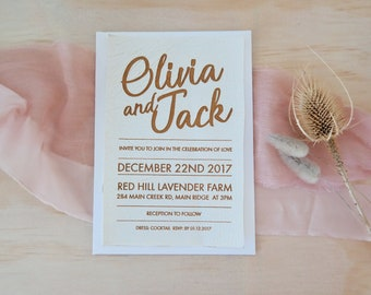 Leather wedding invitation, laser engraved white faux leather stationery. Pack of 10.