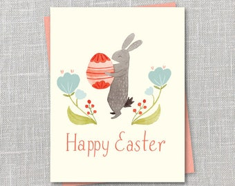 Easter Bunny Notecard Instant Download PDF
