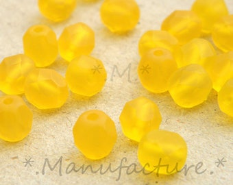 6mm (50pc) yellow matte Czech glass faceted round beads lot