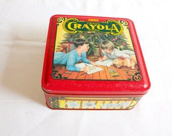 Vintage 1992 Crayola Christmas Tin Box