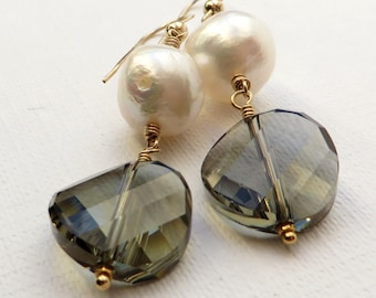 Baroque Pearls and Crystal Gold Earrings