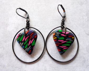 Black and Rainbow Colored Heart Earrings (4235)
