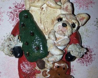 Whimsical Folk Art Santa Claus Ornament w French Bulldog Pup Frenchie Vintage Nostagic Style