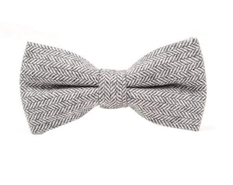 Laine grise Bowtie.Grey chevrons Bowtie.Wool noeud papillon pour Wedding.Winter.Fall.Gifts