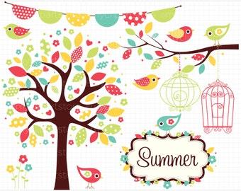 Clipart - Bohemian Bird Garden / Summer - Digital Clip Art (Instant Download)