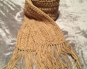 Crocheted scarf the golden and shiny browns