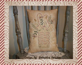 Love Basket-Primitive Stitchery E-PATTERN-INSTANT DOWNLOAD