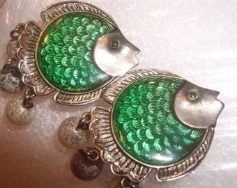Cool Signed CRAFT Huge Fish Earrings Emerald Green Enamel Guilloche Stained Glass Like Dangle Cha Cha Balls Beads Rhinestone Eyes Gem Craft