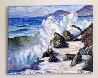 Summer Seaside in Cornwall Original Oil Painting,Sea Rocks Cornwall Beach,Cornwall,Anniversary Present,English summer sea,Big oil painting