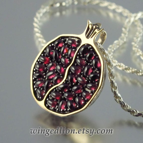 Juicy pomegranate bronze and silver garnet pendant ready to aloadofball Gallery