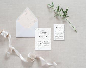 Lauren - Printable Wedding Invitation Suite | Marble, Black, White, Modern
