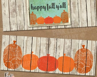 fall pumpkin facebook cover image set includes two images fence distressed rustic pumpkins autumn commercial use old frame worn social media