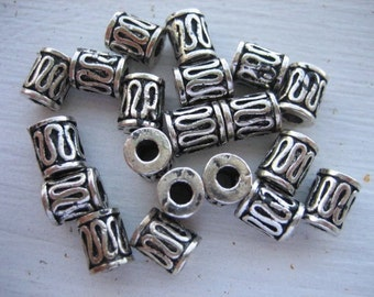 Antiqued Silver Drum Beads (24)