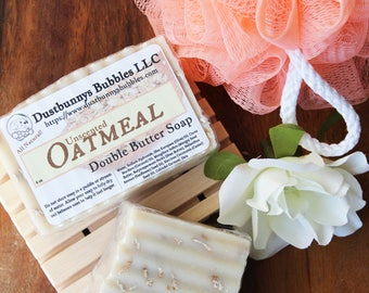 All natural soap, unscented soap, oatmeal, exfoliating, shea butter, mango butter, double butter soap, vegan soap, gender neutral soap