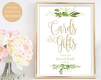 Personalized Cards and Gifts Sign Wedding Poster Gift Table Sign Template Wedding Sign PDF Template Instant Download 8x10, 5x7, 4x6 Greenery
