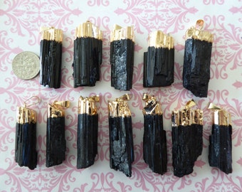 15% Less Sale.. 5-20 pc, Tourmaline Charm Pendant, Electroplate 24k Gold, 30-40 mm, LARGE raw rough ap70.11 solo