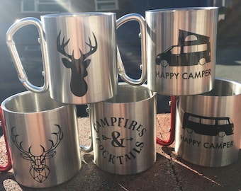 Camping tin mug with carabiner clip with camper /stag design stainless steel