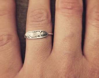 Feather ring - made to order - sterling silver - stacking - stamped - handmade -