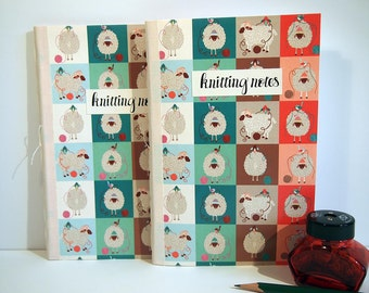"Knitting notebook journal, hand made and bound, 8""x5.5"" Original sheep and yarn designs. 30 pages graph paper. Knitting notes, accessory"