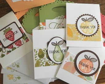Farmers Market Satchel of 4 Thank You Cards - Fruit Cards - Thank You Cards - Gift Card Set - Granny Smith Colored Bag