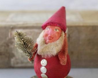 Vintage Christmas Clay Face Elf/Pixie/Gnome, Vintage Spun Cotton Elf - Japan