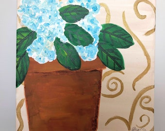 Gold and Blue Hydrangeas No. 1: Original 12x12 acrylic fine art painting. Part of 3 piece set.