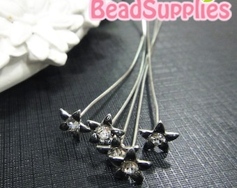 FN-HP-09001-  Petite flower headpin, black, 6 pcs