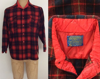 1970's Pendleton Red Plaid Wool Button Up Shirt
