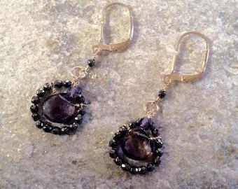 Iolite and Hematite earrings